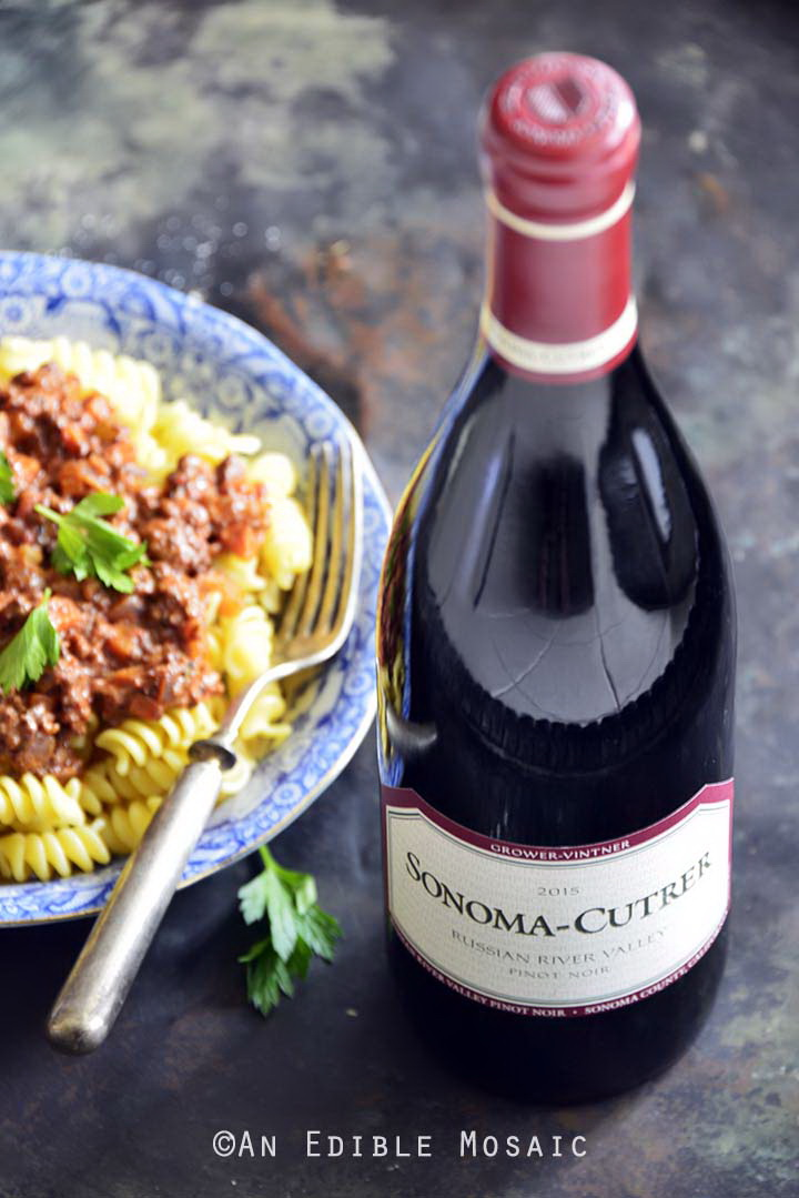 Sonoma-Cutrer with Bolognese on Top of Pasta