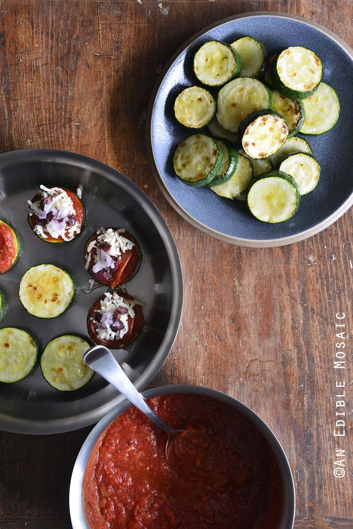 Zucchini Bites Prep Overhead View