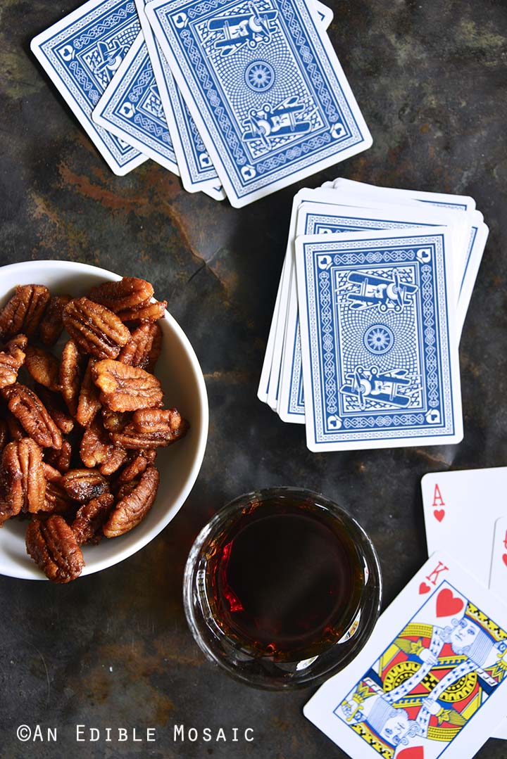 Sweet and Spicy Buffalo Buttered Pecans with Playing Cards