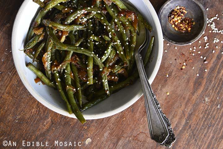 Teriyaki Green Beans Close Up