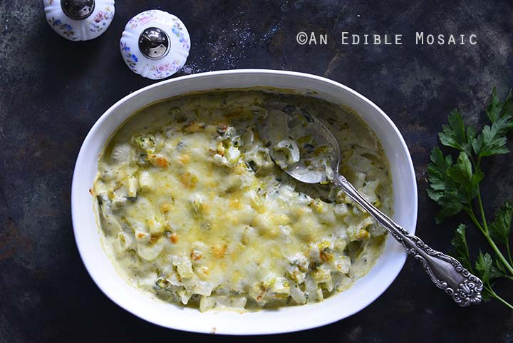 Digging Into Low-Carb Cheesy Celery Gratin