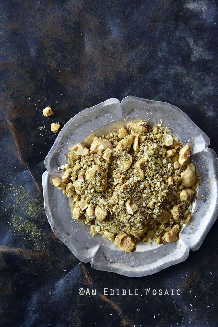 Close Up of Dukkah Spice Mix in Vintage Dish