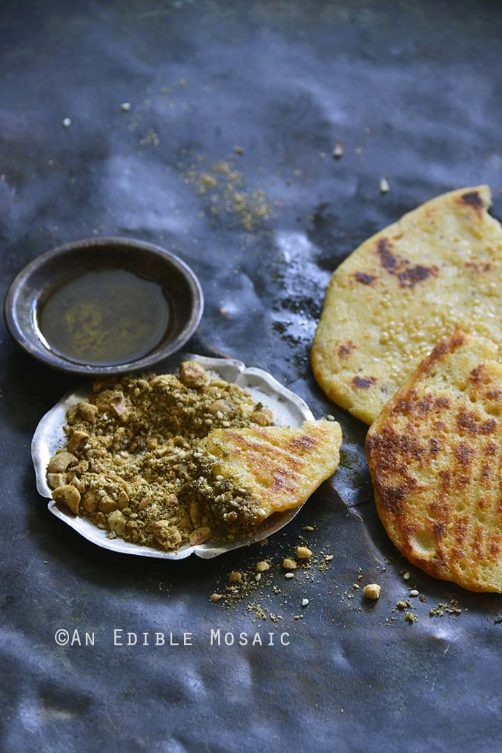 Platter of Dukkah Spice Mix with Olive Oil and Flatbread