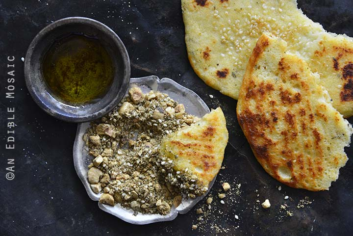 Close Up of Dukkah Spice Mix with Flatbread and Olive Oil