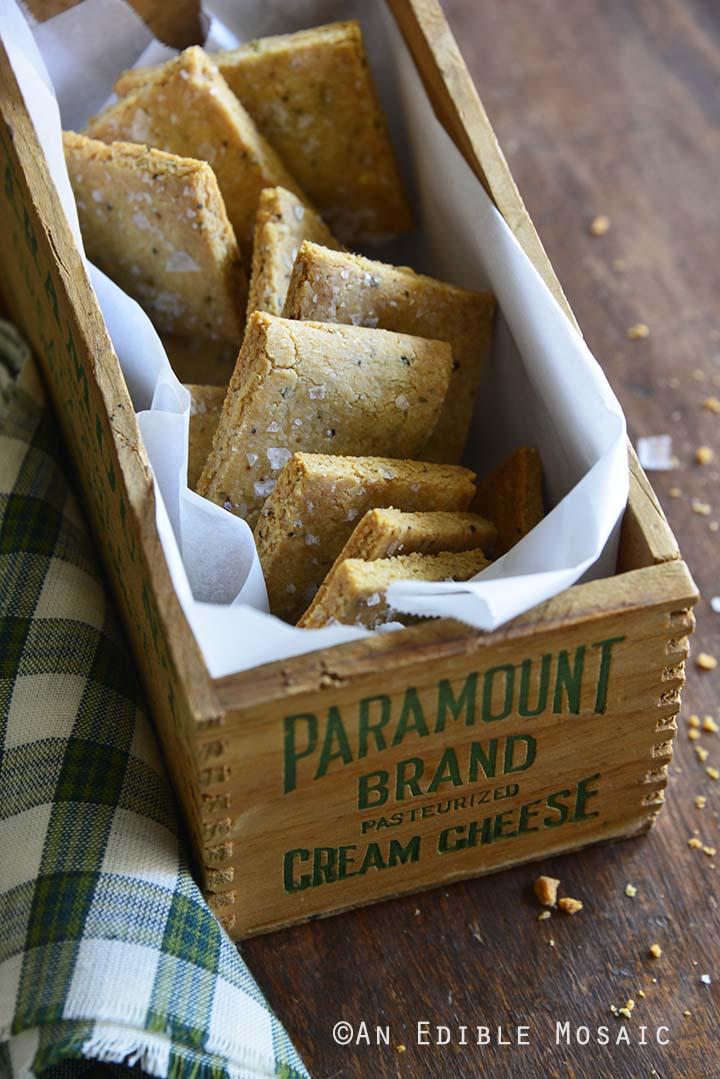 Gluten Free Savory Parmesan-Garlic Crackers in Vintage Wooden Box