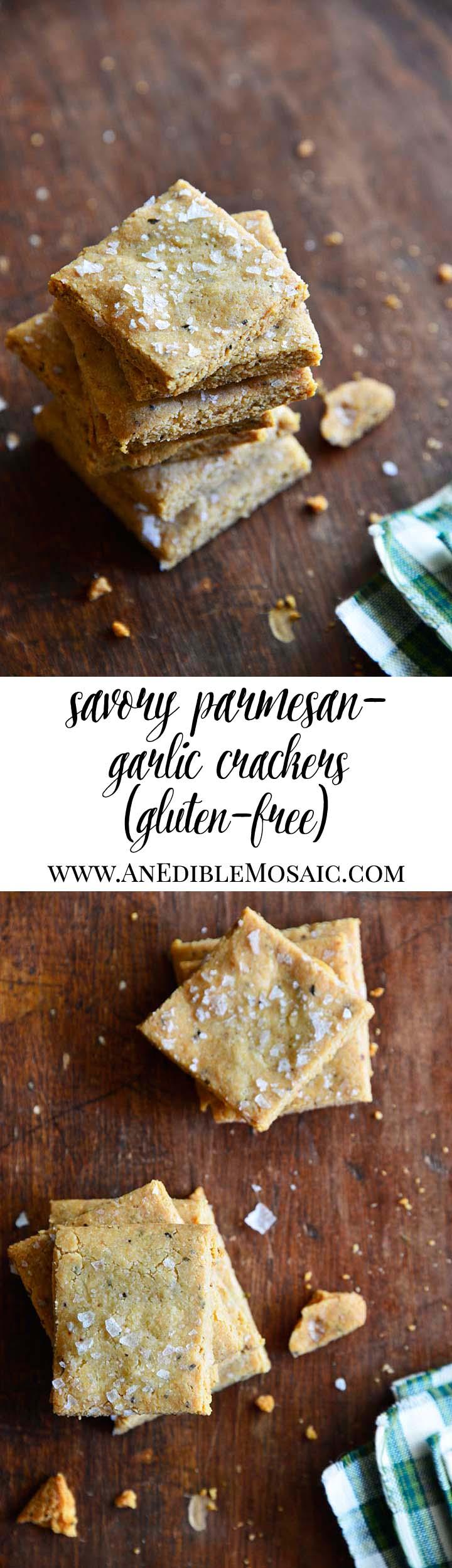 Gluten Free Savory Parmesan-Garlic Crackers Long Pin