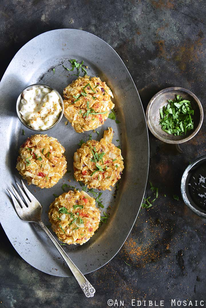 Overhead View of Old Bay Roasted Red Pepper Quinoa Seafood Cakes