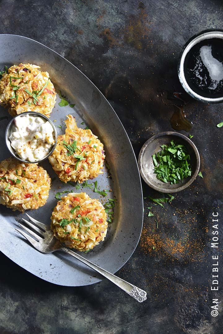 Old Bay Roasted Red Pepper Quinoa Seafood Cakes on Serving Platter with Fresh Parsley