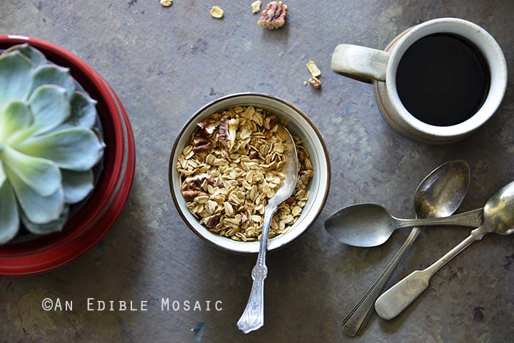 Close Up of Spiced Maple Pecan Muesli Granola
