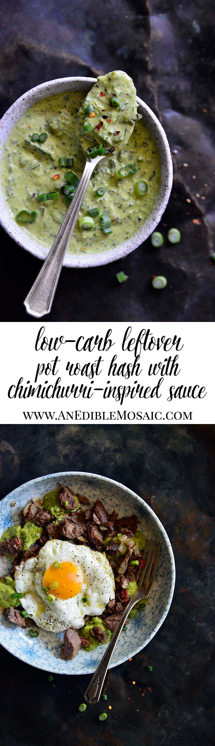 Leftover Pot Roast Hash with Chimichurri-Inspired Sauce Long Pin