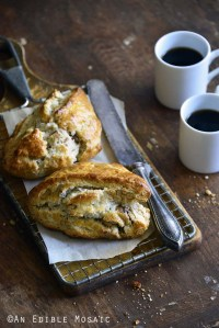 Small Batch Maple-Walnut Scones for Two on Bread Board with Coffee