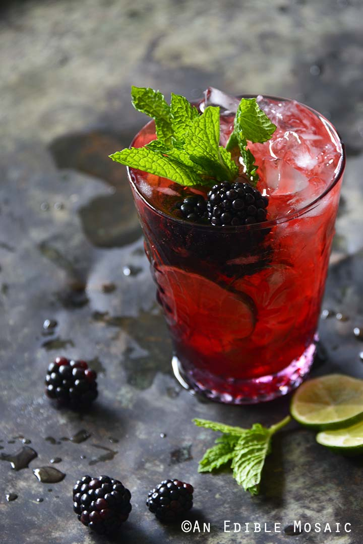 Blackberry Syrup, Mint, and Lime Spritzers