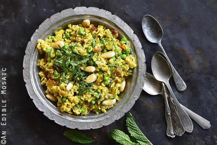 Close Up of Indian-Inspired Golden Rice and Green Pea Pilaf with Fresh Mint