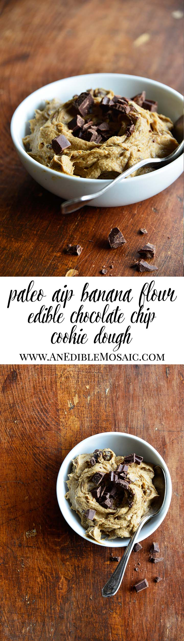 Paleo AIP Banana Flour Chocolate Chip Edible Cookie Dough Long Pin