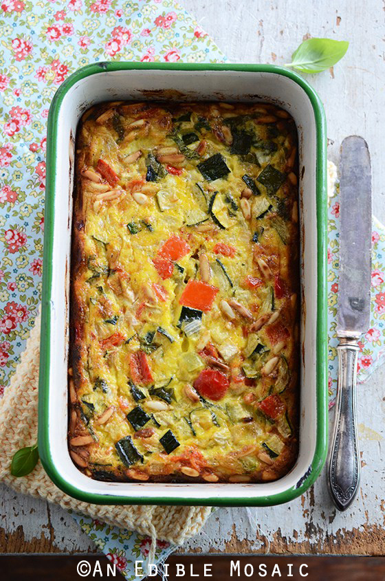 Roasted Vegetable Crustless Quiche with Basil and Pine Nuts