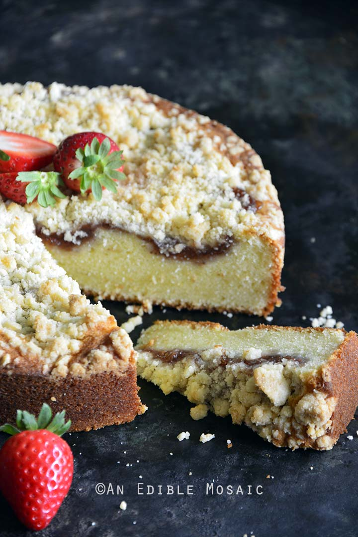 Front View of Strawberry Streusel Sour Cream Coffee Cake