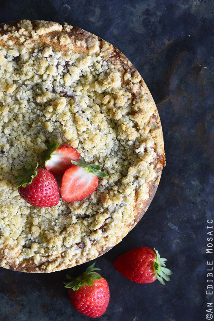 Top View of Strawberry Streusel Sour Cream Coffee Cake