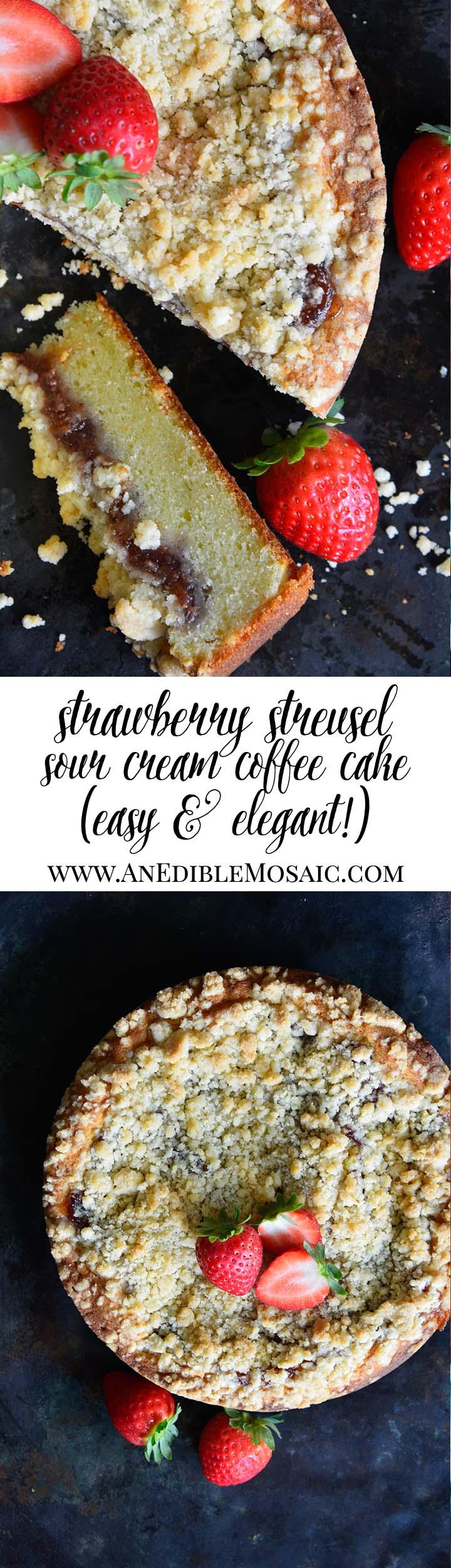 Strawberry Streusel Sour Cream Coffee Cake Long Pin