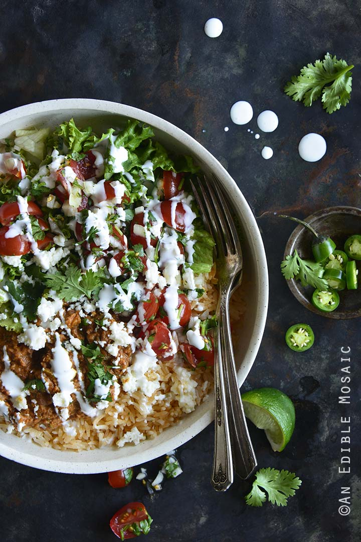 Chorizo Refried Bean Burrito Salad Bowls with Queso Fresco Overhead View