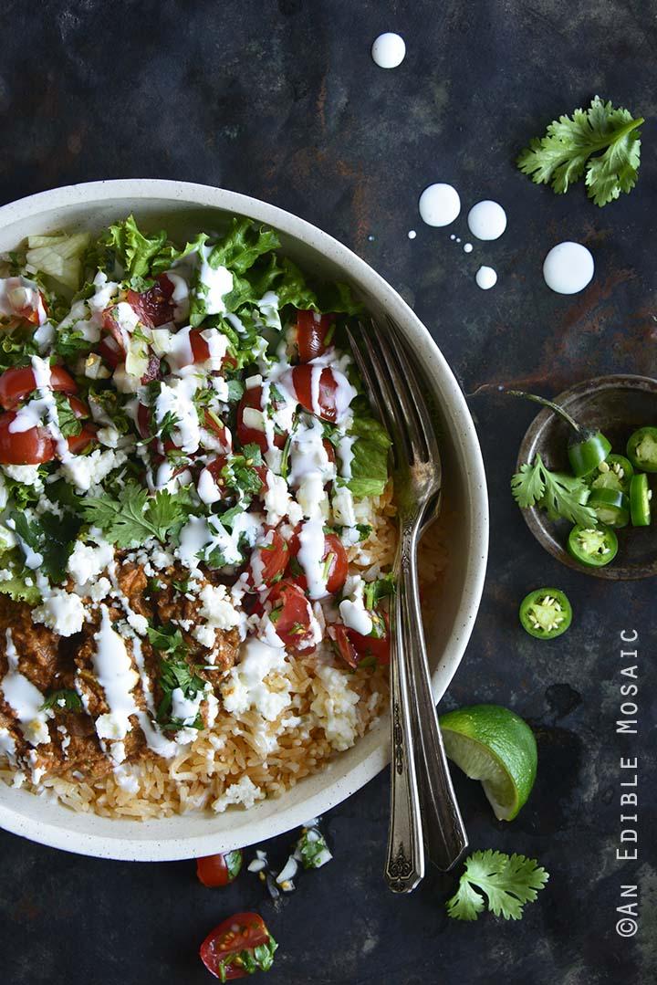 Chorizo Refried Bean Burrito Salad Bowls with Queso Fresco #Recipe