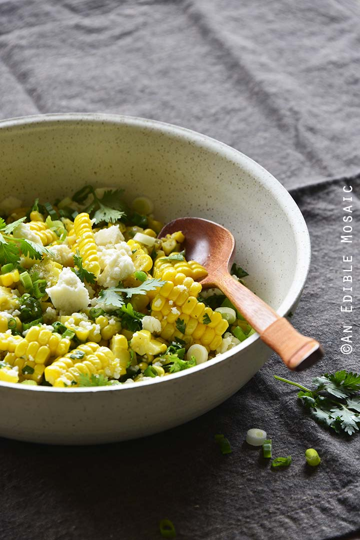 Mexican-Inspired Warm Garlic Butter Corn Salad with Cotija #Recipe