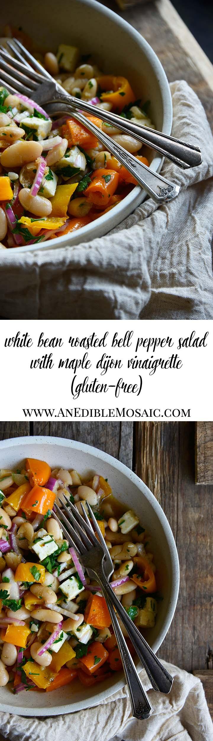 White Bean Roasted Bell Pepper Salad with Maple Dijon Vinaigrette Long Pin