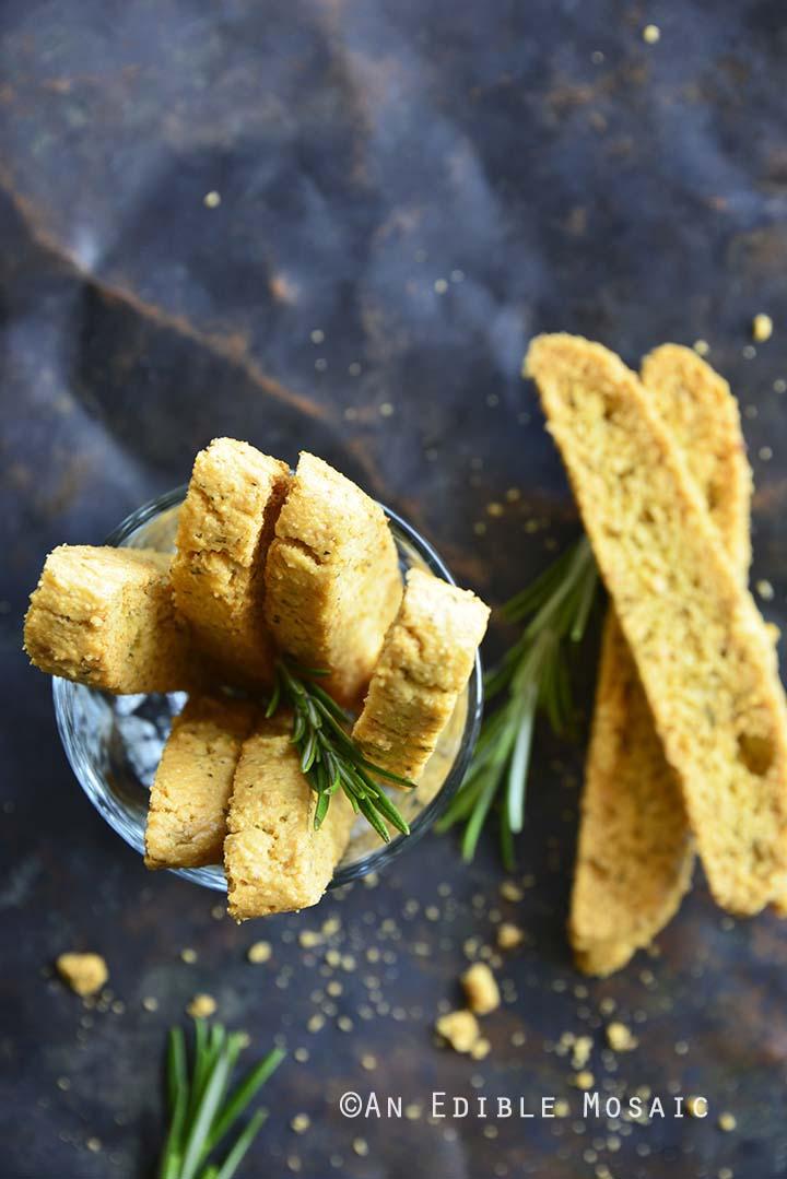 Top View of Garlic and Herb Savory Keto Gluten Free Biscotti