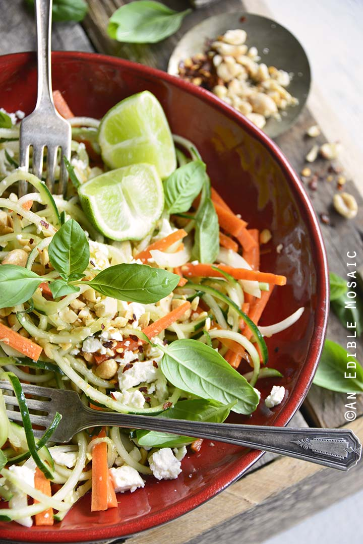 Low Carb Spiralized Cucumber Salad with Peanuts, Basil, and Ginger Miso Dressing Front View