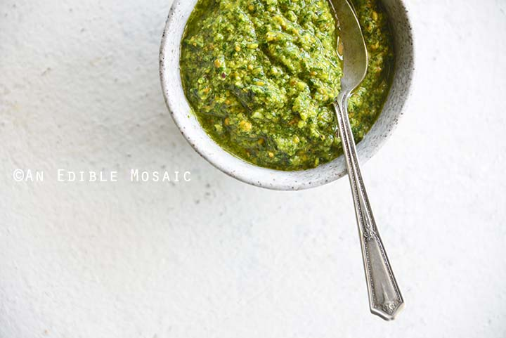 Close Up of Pistachio Cilantro Pesto