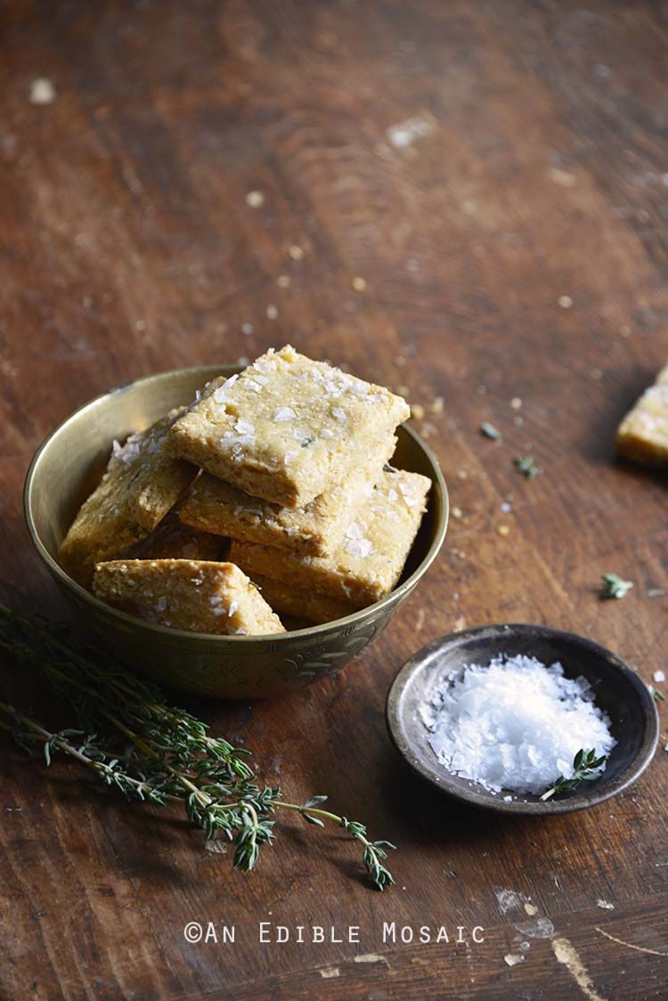 Swiss Cheese and Thyme Homemade Gluten Free Crackers in Bowl