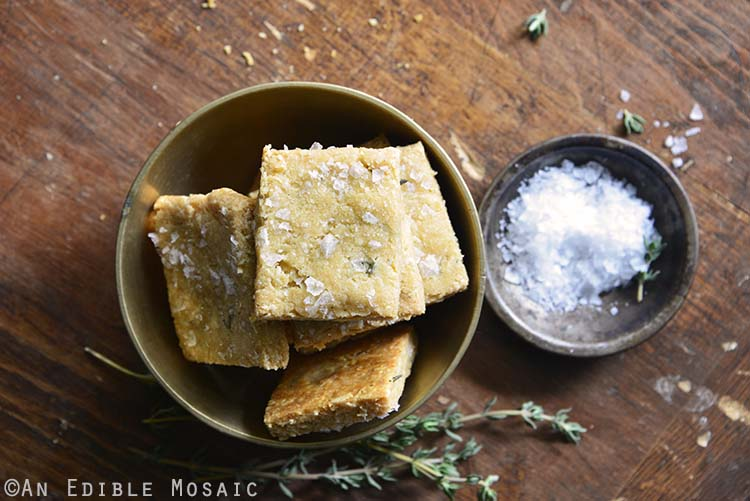 Close Up of Swiss Cheese and Thyme Homemade Gluten Free Crackers