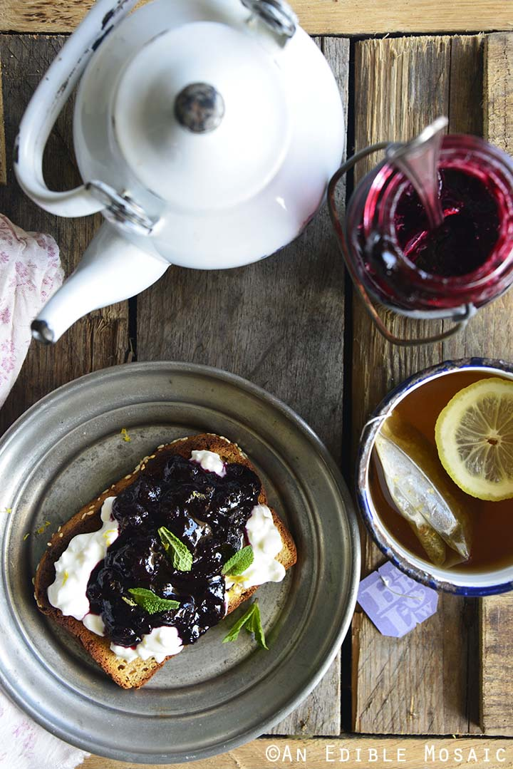 Blueberry Jam Toast with Bigelow Tea