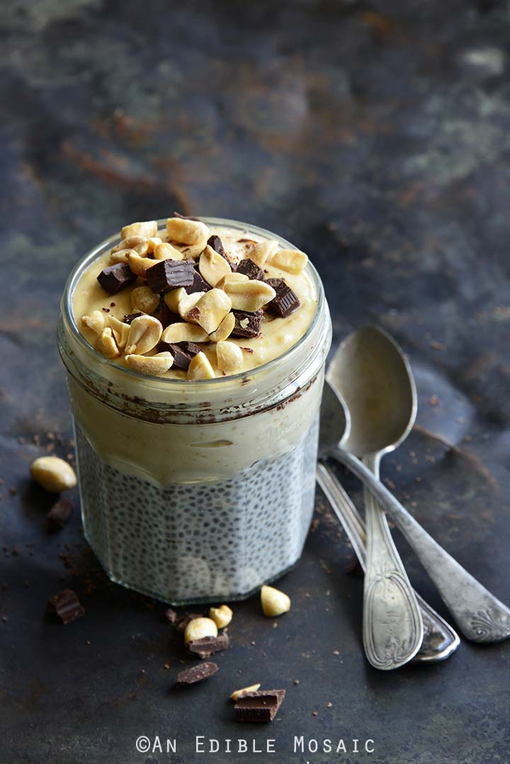 This Chocolate Peanut Butter Chia Pudding tastes like healthy peanut butter pie, but is nourishing enough to enjoy for breakfast.