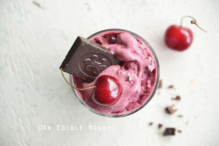 Close Up of Healthy Cherry Garcia Ice Cream Recipe (No Ice Cream Maker)