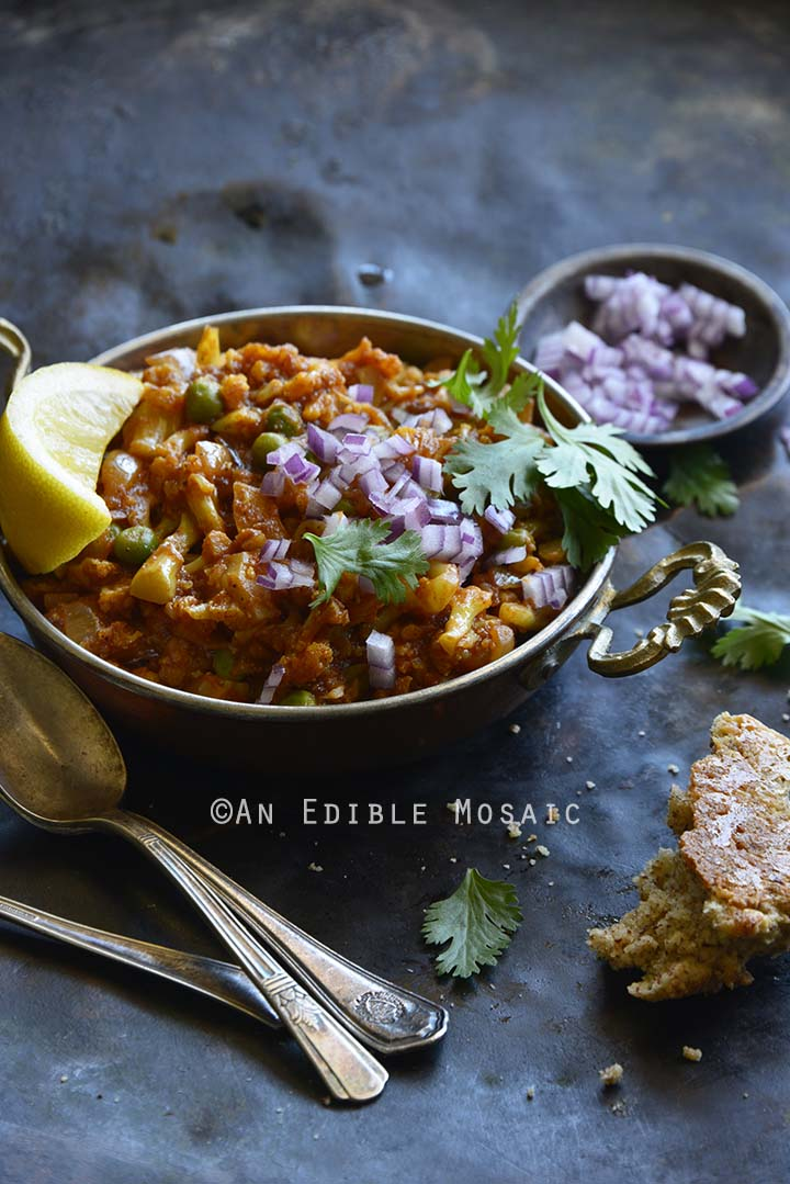 Instant Pot Cauliflower Pav Bhaji (Low Carb Indian Food) Front View