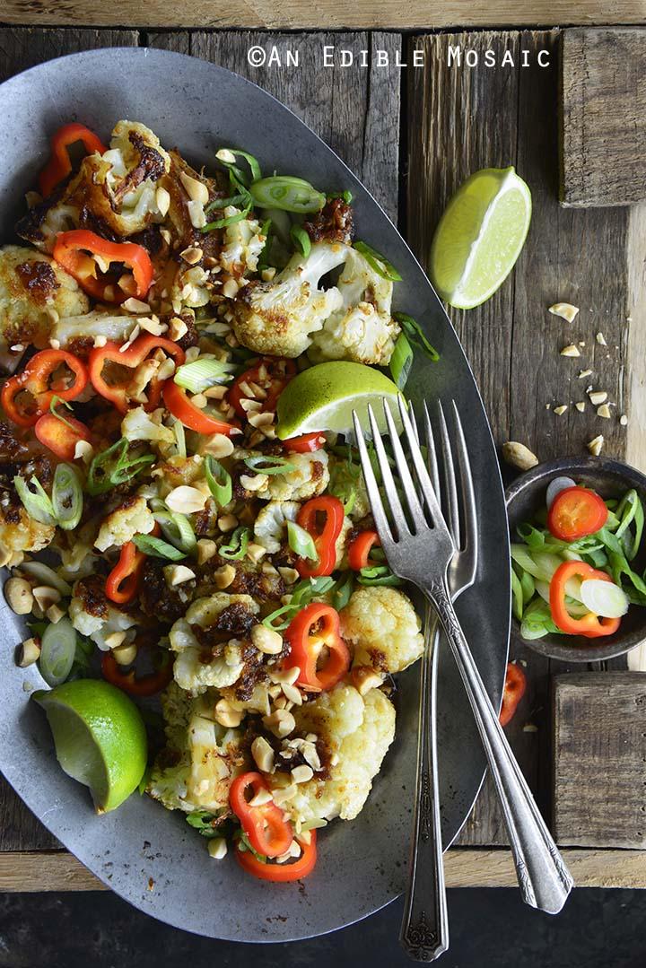 Gluten Free Pad Thai Cauliflower Side Dish Top View