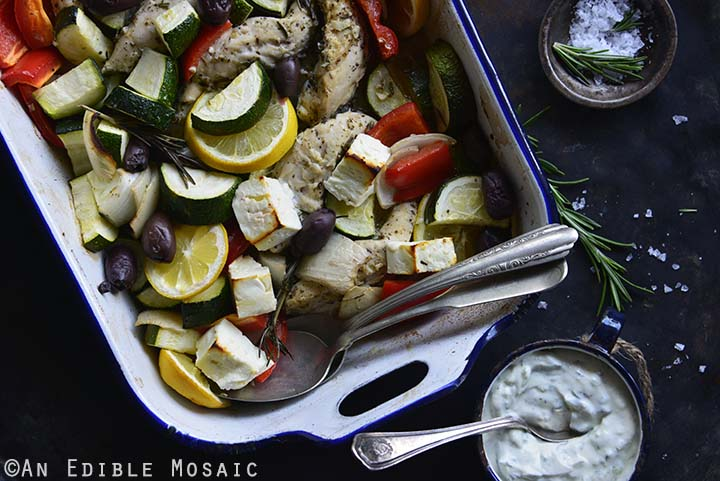 Low Carb One Pan Greek Baked Chicken Dinner with Tzatziki Sauce Close Up