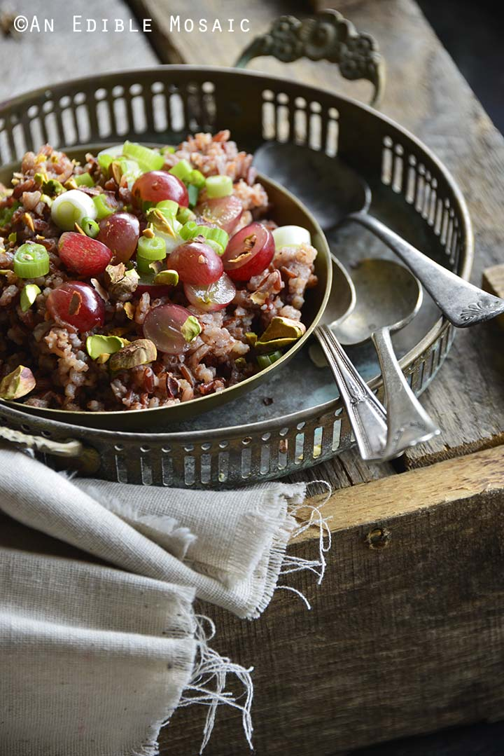Red Rice Recipe with Grapes and Pistachios with Vintage Tray