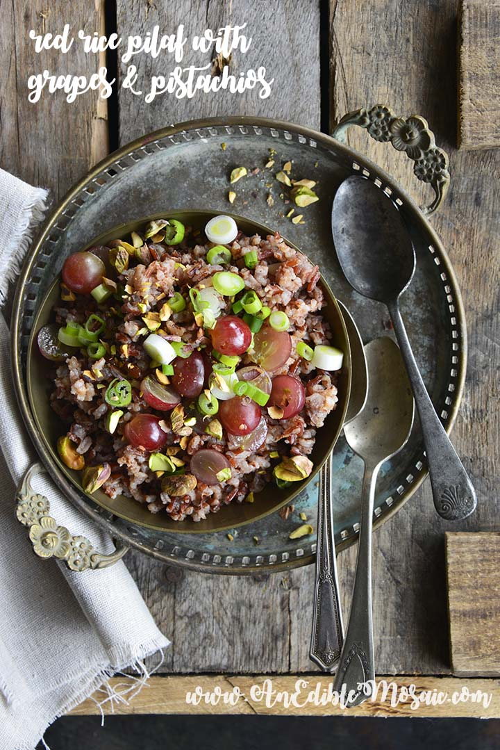 Red Rice Recipe with Grapes and Pistachios with Description