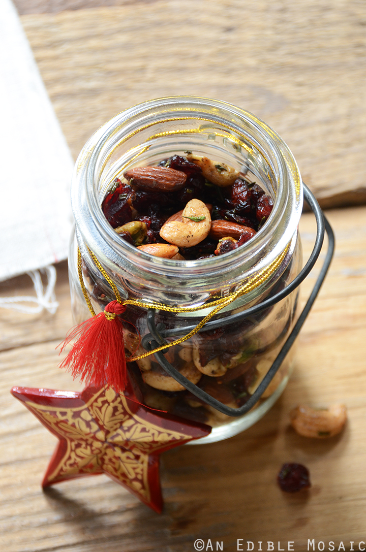 Festive Vanilla Bean Mixed Nuts with Rosemary and Cranberries
