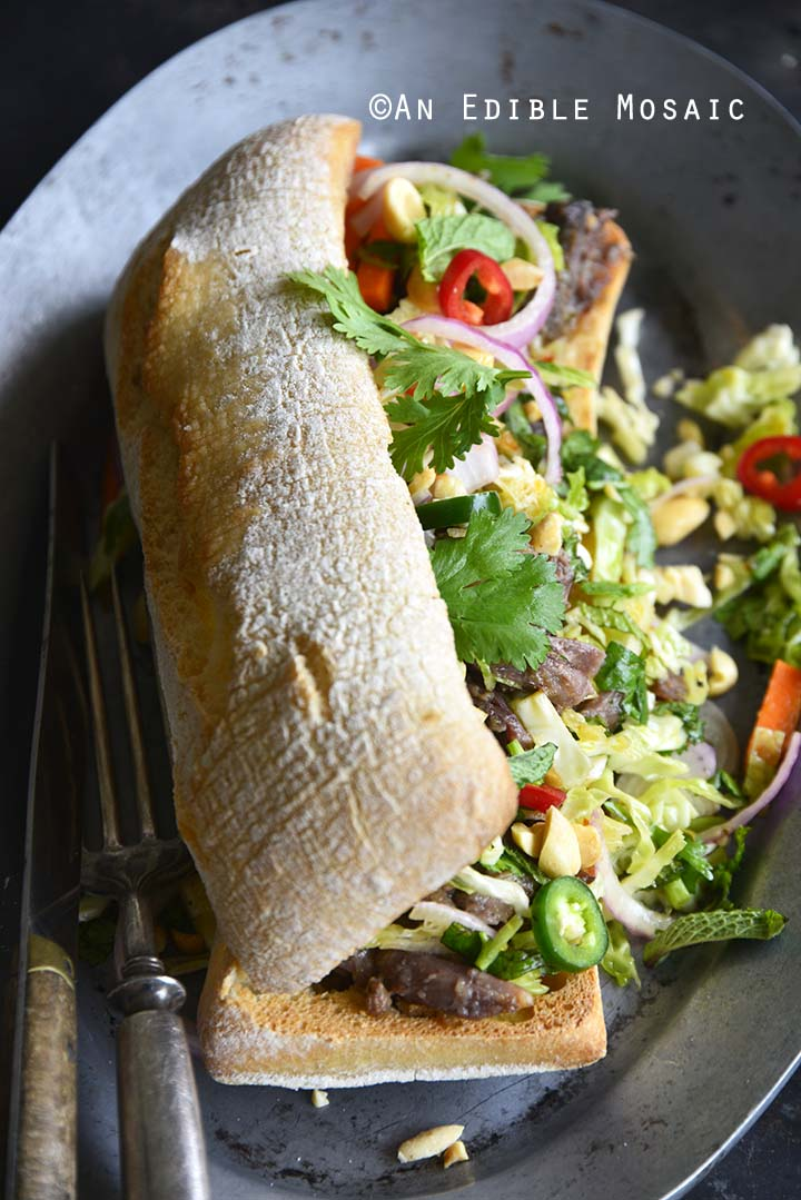 Overstuffed Banh Mi Sandwich with Instant Pot Short Ribs and Quick Pickled Slaw