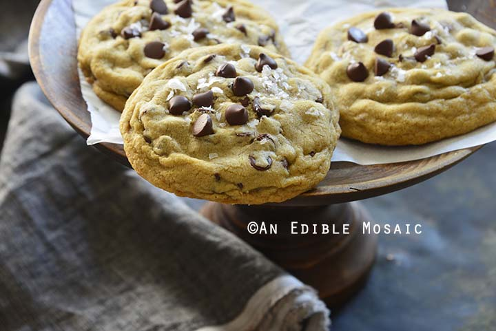 Close Up Front View of Small Batch Bakery Style Chocolate Chip Cookies
