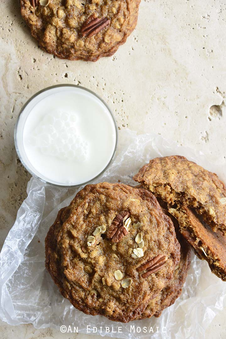 Chewy Cinnamon Pecan Brown Butter Oatmeal Cookies