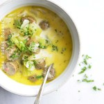 Easy Keto Low Carb Creamy Sausage Soup with Vintage Spoon and Fresh Parsley Garnish