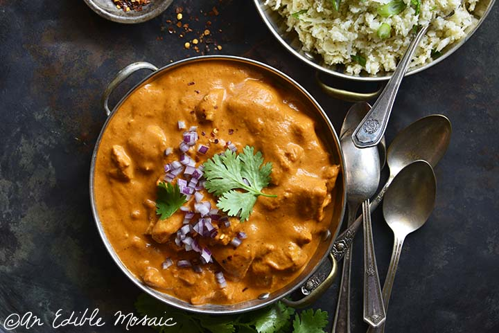 Close Up Overhead View of Easy Low Carb Butter Chicken