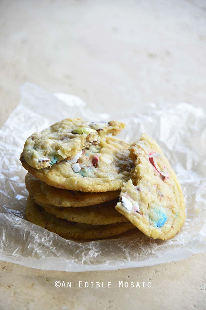 Stack of Easter Cookies with Robin Eggs Candy and Toasted Coconut Showing Texture