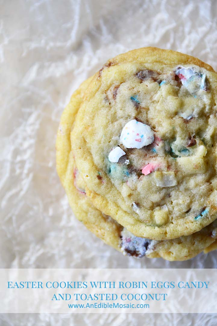 Easter Cookies with Robin Eggs Candy and Toasted Coconut Pin