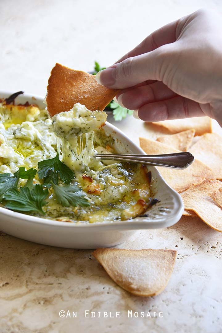 Keto Spanakopita Dip with Cheese Pull