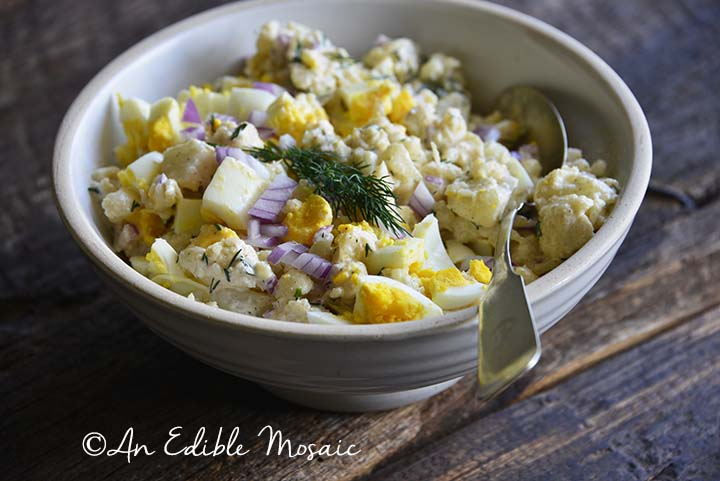 Cauliflower Potato Salad in White Bowl with Spoon