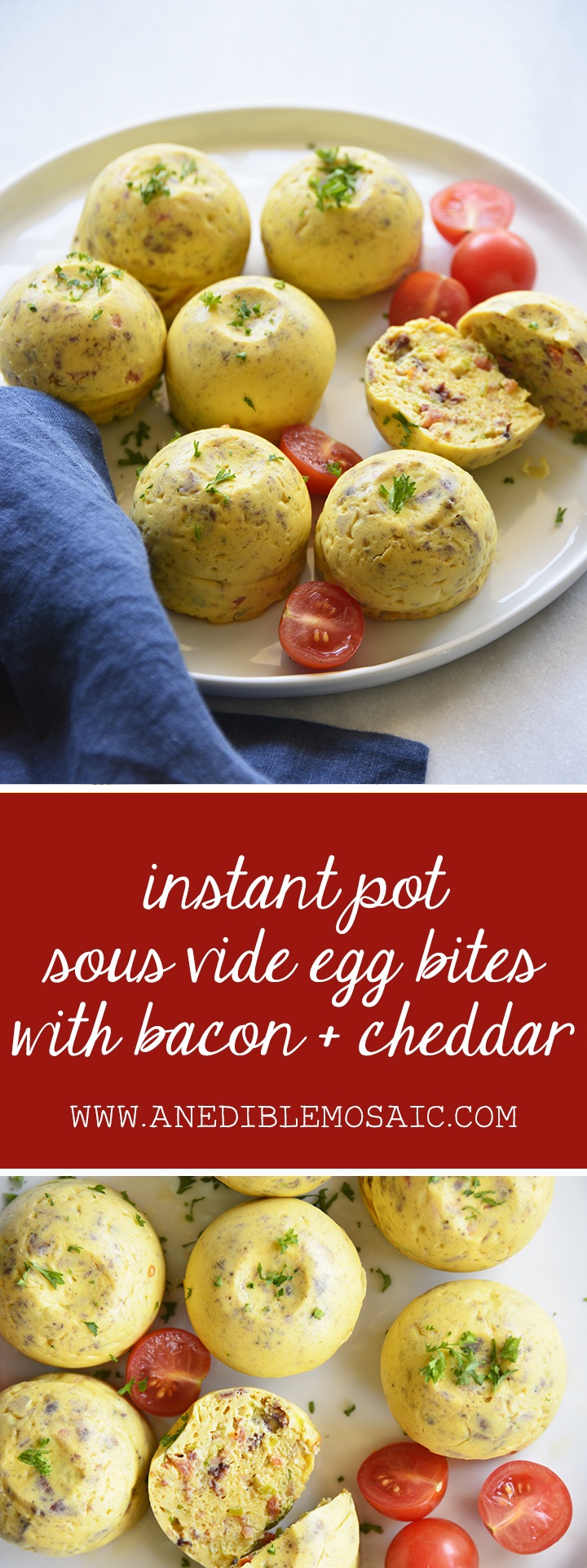 Instant Pot Sous Vide Egg Bites with Bacon and Cheddar Pin